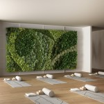 Empty yoga studio interior design, space with mats, hammocks, pillows and accessories, parquet, mirror, vertical garden and big panoramic window, ready for yoga practice, meditation
